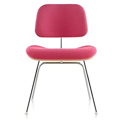 Eames Molded Plywood Dining Chair with Metal Legs, Upholstered
