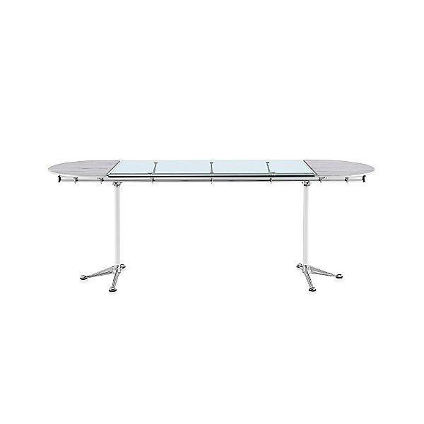 Burdick Oval Glass Table with Stone Ends