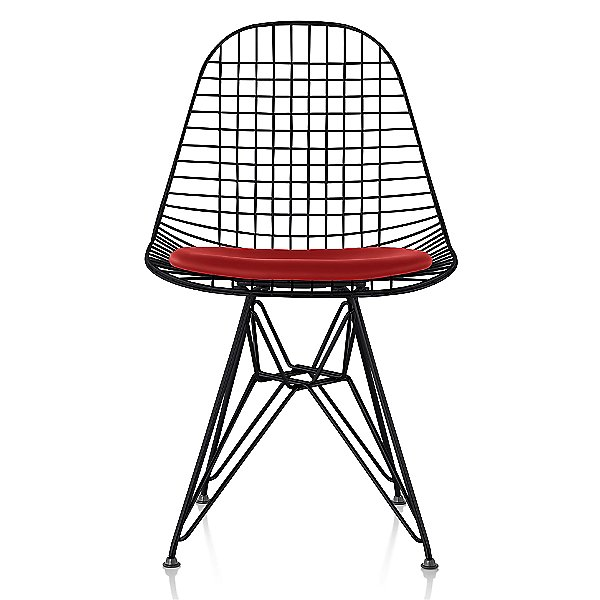 Eames Wire Chair with Leather Seat/Wire Back