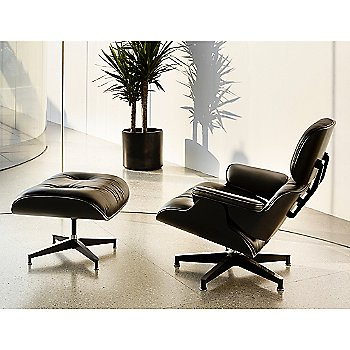 Eames Ottoman, Ebony with Eames Lounge Chair - Ebony