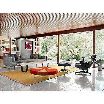 Eames Ottoman - Ebony with Eames Lounge Chair - Ebony, Bolster Three-Seat Sofa and Nelson Platform Bench