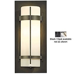 Banded Aluminum Outdoor Wall Sconce (Black/Opal/16 Inch) - OPEN BOX RETURN