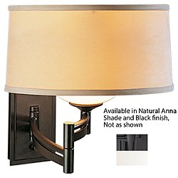 Swing Arm Bowed Wall Sconce (Natural Anna/Black)-OPEN BOX
