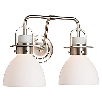 Shown in Brushed Nickel finish, Opal Glass color with 2 Light Option