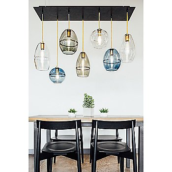 Halo Dome Pendant Light with Halo Cone Pendant Light and Halo Globe Pendant Light / in use