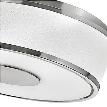 Brushed Nickel finish / Off White Linen Shade material / Large size, detail