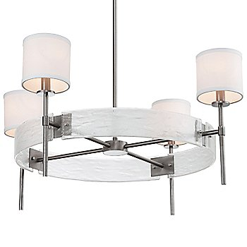 Satin Nickel finish / Frosted Granite accent / White Linen shade