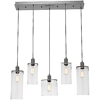 Clear Glass /Metallic Beige Silver finish / 5 Light