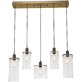 Clear Glass / Gilded Brass finish / 5 Light