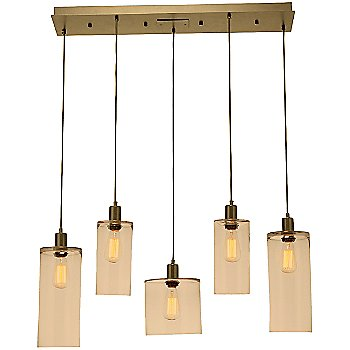 Bronze Glass / Gilded Brass finish / 5 Light