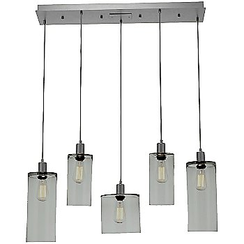 Smoke Glass /Metallic Beige Silver finish / 5 Light