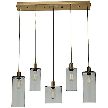 Smoke Glass / Gilded Brass finish / 5 Light