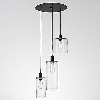 Clear Glass / Matte Black finish / 3 Light