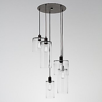 Clear Glass / Matte Black finish / 5 Light