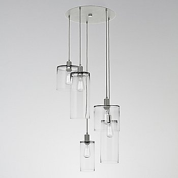 Clear Glass / Metallic Beige Silver finish / 5 Light