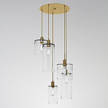 Clear Glass / Gilded Brass finish / 5 Light