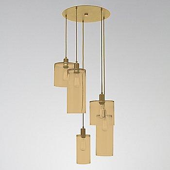 Bronze Glass / Gilded Brass finish / 5 Light