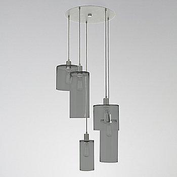 Smoke Glass / Metallic Beige Silver finish / 5 Light