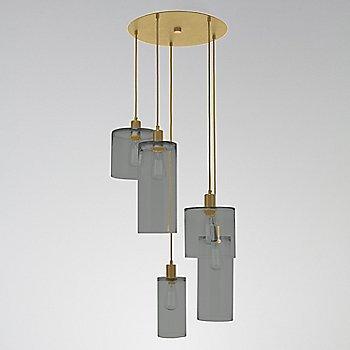 Smoke Glass / Gilded Brass finish / 5 Light