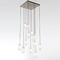 Textured Glass Square Multi-Light Pendant Light