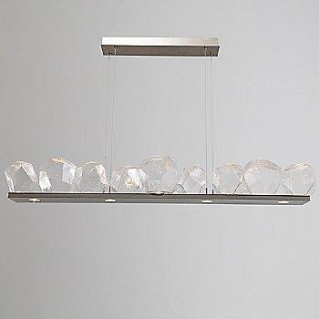 Metallic Beige Silver / Clear Glass shade / 9 Light, illuminated