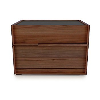 Natural Walnut Wood finish / Glass/ Charcoal Lacquer top finish