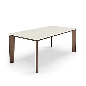 Cream Lacquer Glass Top color / Light Natural Walnut Wood Base finish / Large size