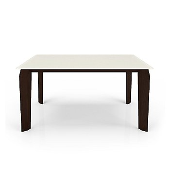 Cream Glass Top color /  Chocolate Walnut Wood Base finish / Small size