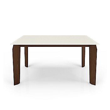 Cream Glass Top color /  Natural Walnut Wood Base finish / Small size