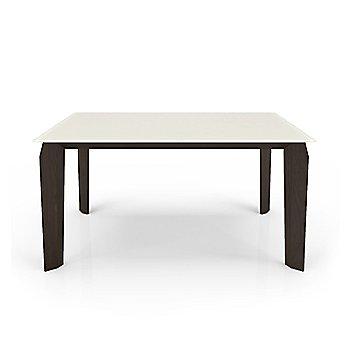 Cream Glass Top color /  Smoky Walnut Wood Base finish / Small size