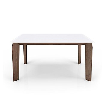 White Glass Top color /  Light Natural Walnut Wood Base finish / Small size