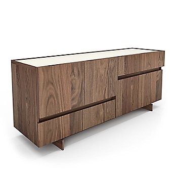 Light Natural Walnut Wood finish / Cream Glass Lacquer color / 72 Inch