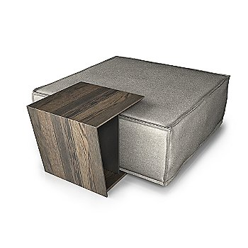 Smoked Oak Wood Finish / Clay Lacquer Color / shown with Profil Square Ottoman