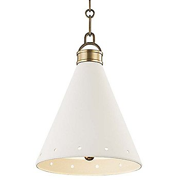 Small size / Aged Brass finish / White Plaster Shade