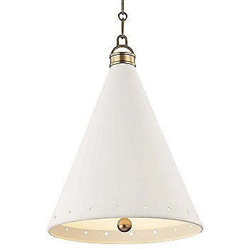 Medium size / Aged Brass finish / White Plaster Shade