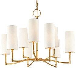 Dillion Nine Light Chandelier(White/Brass/9 Lights)-OPEN BOX