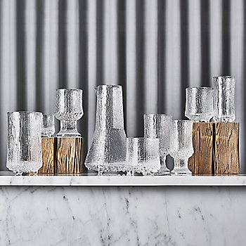 Ultima Thule Set of 2 Cordial Glasses with Iittala Ultima Thule Anniversary Carafe and Ultima Thule Set of 2 Champagne Glasses - Wirkkala Anniversary