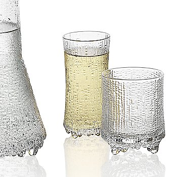 Ultima Thule Set of 2 Champagne Glasses - Wirkkala Anniversary with Ultima Thule Set of 2 Cordial Glasses and Iittala Ultima Thule Anniversary Carafe