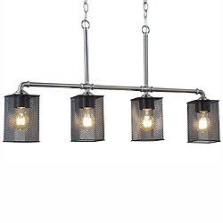 Wire Mesh Bronx Four Light Linear Suspension Light