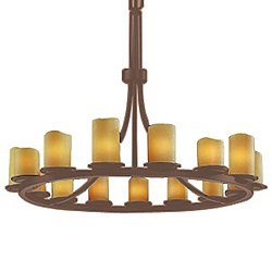 CandleAria Dakota Chandelier(Amber/Bronze/15Lights)-OPEN BOX