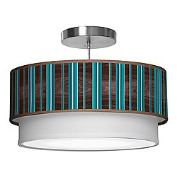 Vertical Stripey Double Tiered Pendant Light
