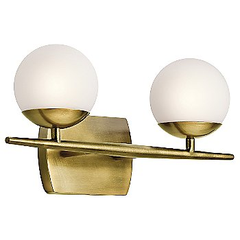 Shown in Natural Brass finish, 2 lights