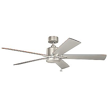 Shown in Brushed Nickel with Walnut and Silver blades, 60 inch size