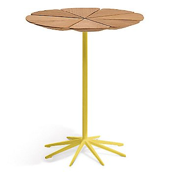Shown in Teak top with Yellow Base