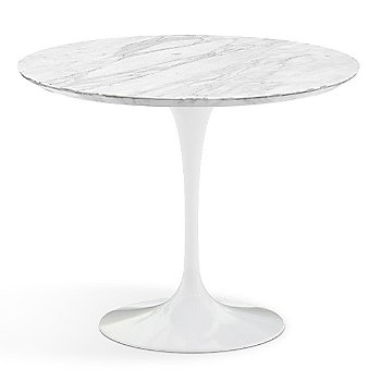 Carrara White-Grey Satin Coated Marble Top with White Base / 36 Inch