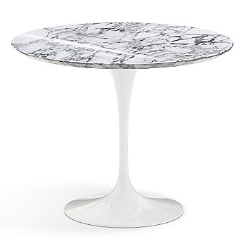 Shown in Arabescato White-Grey Shiny Coated Marble Top with White Base, 36 Inch