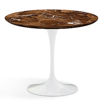 Shown in Espresso Brown Satin Coated Marble Top wih White Base, 36 Inch