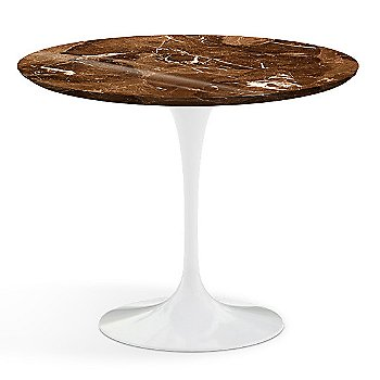 Shown in Espresso Brown Shiny Coated Marble Top with White Base, 36 Inch