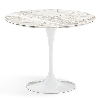 Calacatta White-Grey Beige Shiny Coated Marble Top finish with White Base / 36 Inch