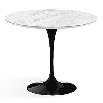 Carrara White-Grey Satin Coated Marble Top finish with Black Base / 36 Inch